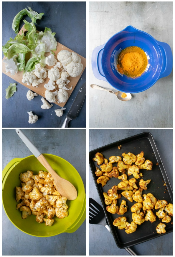 Step by step tutorial for how to make turmeric roasted cauliflower
