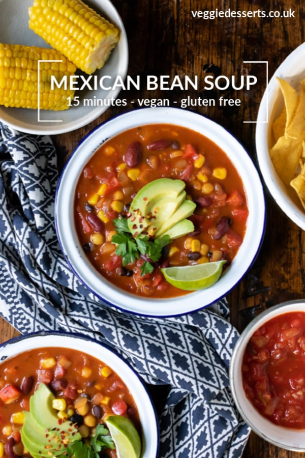 This easy vegan Mexican Bean Soup is a hearty bowl full of flavour. It's rammed with beans and veggies, and is deliciously spiced and warming. The best thing is you can make this recipe in just 15 minutes!