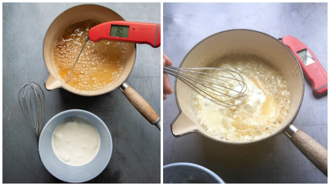 How to make salted caramel sauce. Step 3: Boil until an amber colour and reaches 175C. Step 4: Carefully whisk in the cream.