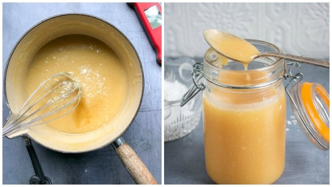 How to make salted caramel sauce: Step 5: stir in the vanilla and sea salt. Step 6: Pour into a jar.