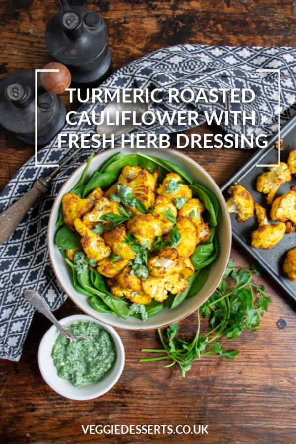This vibrant turmeric roasted cauliflower is delicious hot or cold, as a salad, main meal or side dish. It only takes 20 minutes and roasting the cauliflower makes it deliciously soft but crispy.  #roastedcauliflower #turmeric #turmericcauliflower #vegan