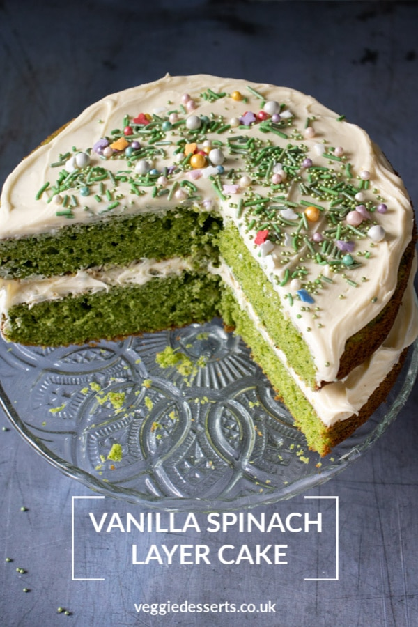 This Vanilla Spinach Cake is bright green, but the flavour of the spinach fades away so it just tastes like a vanilla cake - but it has an incredible colour! It's a fun hidden vegetable cake, that's delicious and slightly healthier. Perfect as a birthday cake or for any occasion. #spinachcake #hiddenveg #vegetablecake #greencake