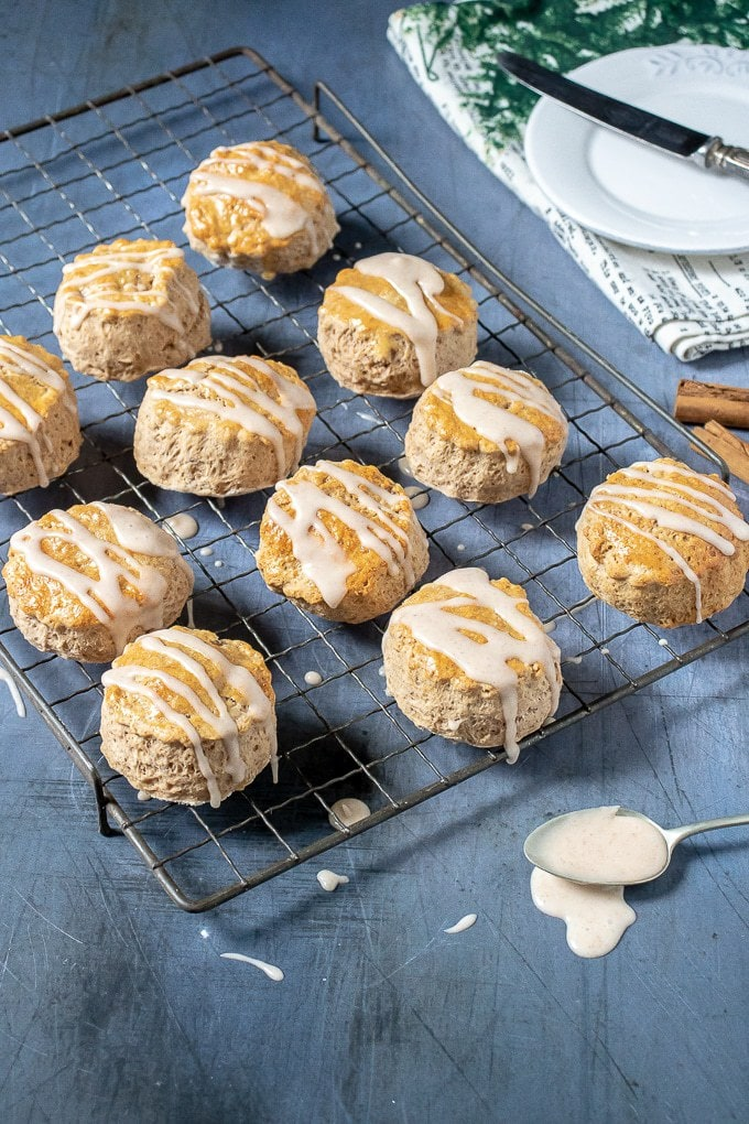 A vintage rack with cinnamon scones and vanilla cinnamon drizzle recipe