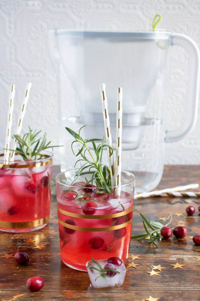 Ginger Cranberry Kombucha Mocktail recipe in glasses in front of a water filter with cranberries scattered around the wooden table