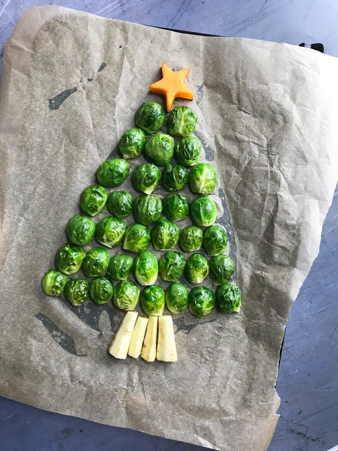Sprouts arranged into a tree shape ready to roast.