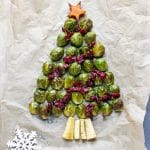 Roasted brussels sprouts in a Christmas tree shape, with parsnip base, cranberry decorations and squash star