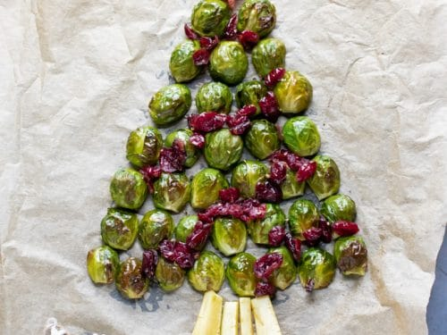 Christmas Tree Fruit.Roasted Brussel Sprout Christmas Tree