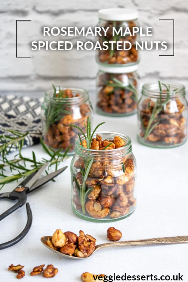 Rosemary maple spiced roasted nuts are irresistibly tasty. They only take 20 minutes to make and you can put them into little jars for an edible Christmas gift. All the flavours work beautifully with the crunchy candied nuts.