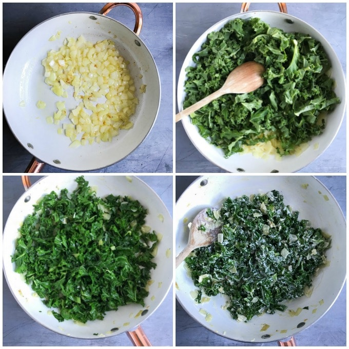Collage making creamed kale