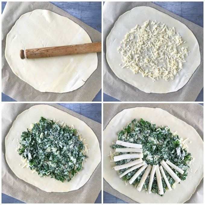 How to assemble the salsify kale galette