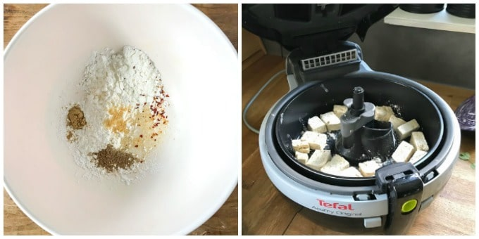 Bowl of seasoned flour and an air fryer.