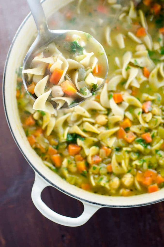 Vegan soup - vegan chickpea noodle soup