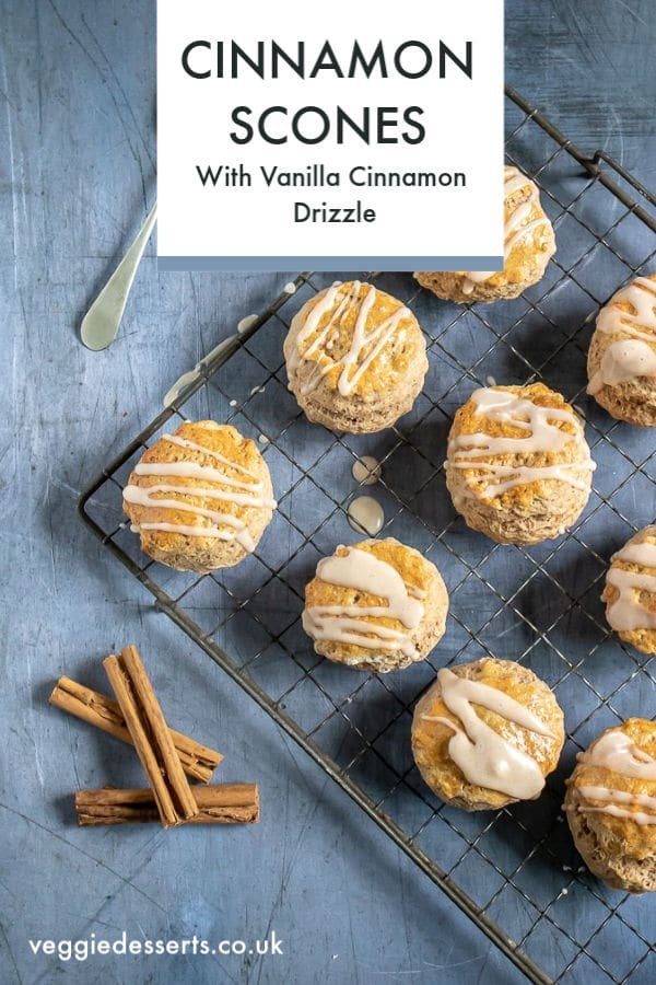 Cinnamon scones are a fragrant and delicately spiced version of scones that taste delicious. The vanilla cinnamon drizzle is quick and easy, but really makes this scone recipe extra special. Perfect for afternoon tea, a snack or dessert.  #scones #cinnamonscones #cinnamon #veggiedesserts