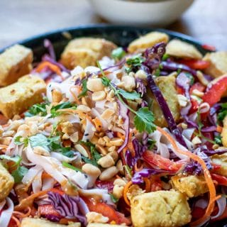 Close up of a Noodle Bowl with air fried tofu, rice noodles, thinly sliced cabbage, carrot and red bell pepper. It's topped with a tasty Thai peanut sauce and chopped peanuts, herbs and sesame seeds. A vegan and gluten free recipe ready in just 25 minutes.