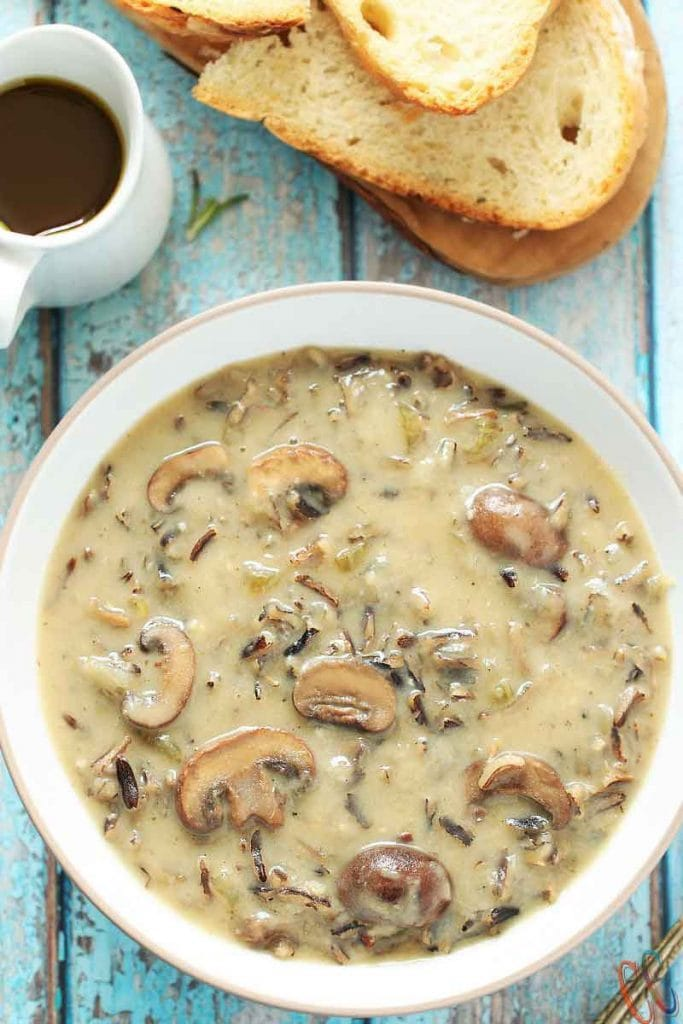 Vegan soup - Instant Pot Wild Rice and Mushroom Soup