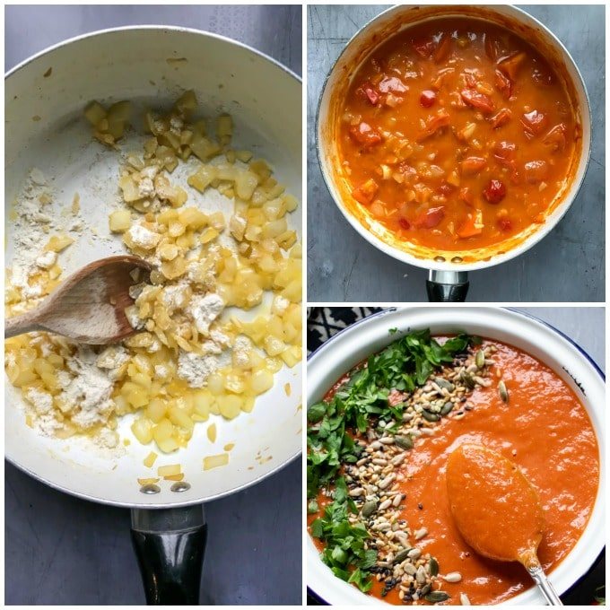 How to make this easy tomato soup recipe. Sautee onions, stir in flour, add tomatoes, broth, puree and simmer for 10 minutes. Puree.