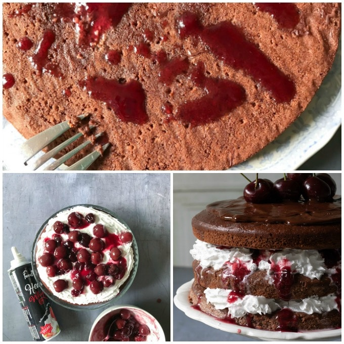 How to make Vegan Black Forest Cake - step by step tutorial. Pouring cherry sauce on vegan cakes, adding dairy free cream and putting the layers together, topped with chocolate ganache.