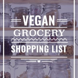 Pantry shelves, with text: Vegan Grocery Shopping List.