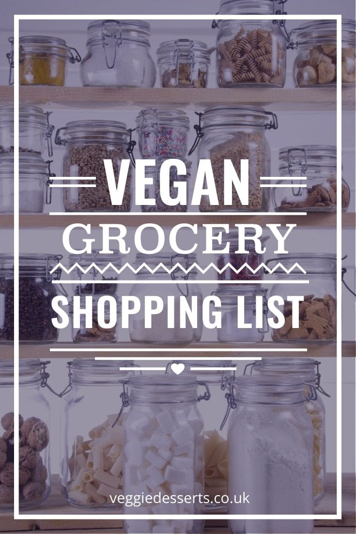 Pantry shelves with text overlay: Vegan Grocery Shopping List.
