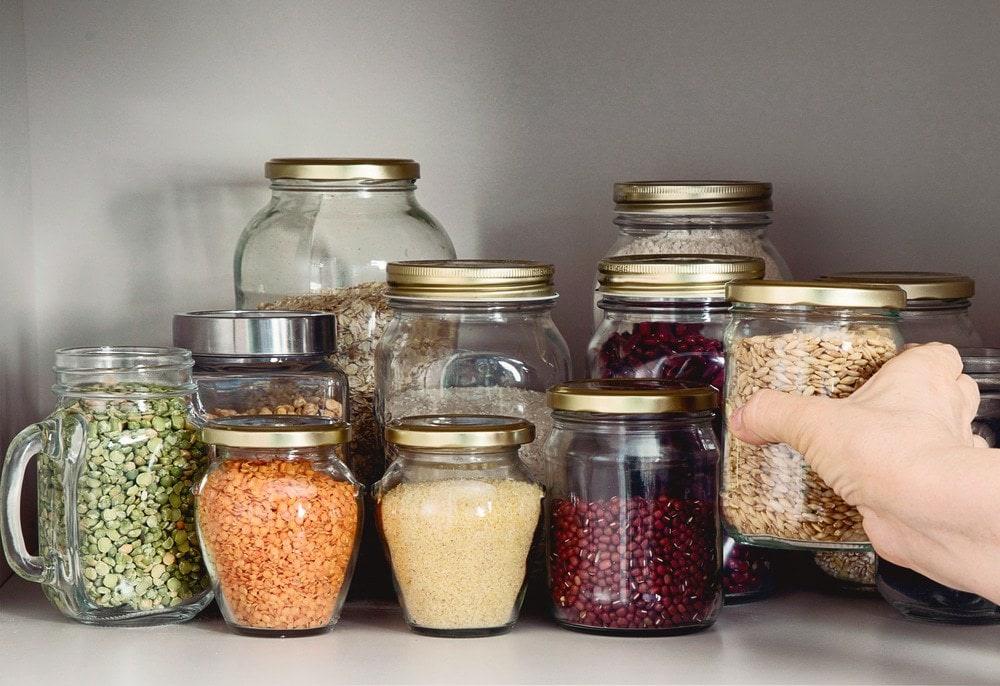 Jars of foods.