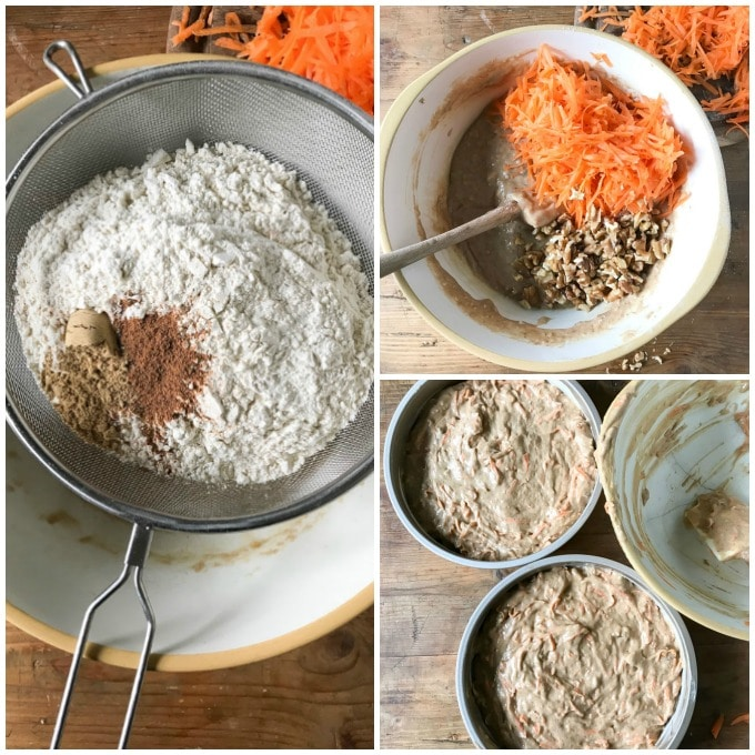 How to make vegan carrot cake step by step pictures tutorial in a collage. One bowl easy dairy free carrot cake recipe.
