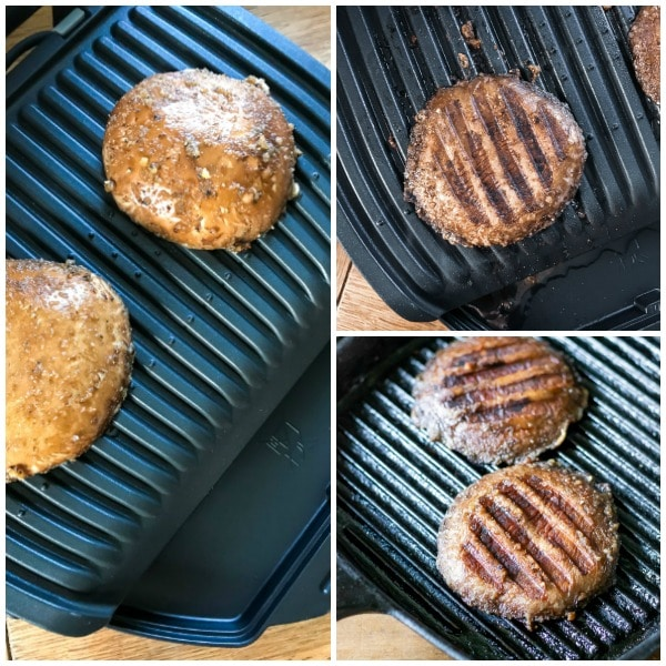How to make mushroom steaks recipe (vegan, vegetarian, gluten free): Heat a grill (like a George Foreman grill) or a grill pan, broiler or barbecue until hot. Add the mushrooms and cook until tender and juicy. Save any juices if possible. Serve with mashed potato or fries, and veg.