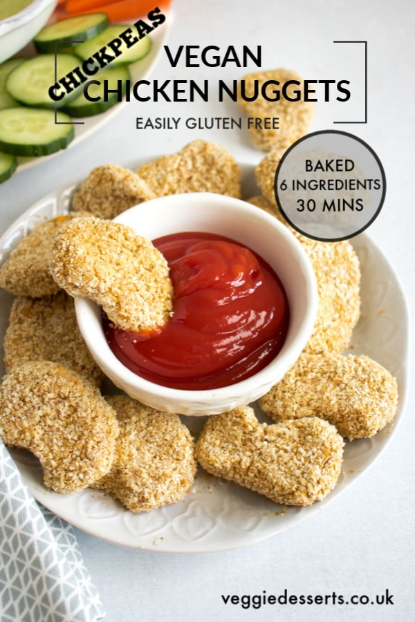 These tasty vegan chicken nuggets (baked chickpea nuggets) are super easy to make with just 6 ingredients in 30 minutes. The whole family will love this recipe! Soy free, oil free, dairy free, nut free and easily gluten free. #vegannuggets #chickpeanuggets #veganchickennuggets