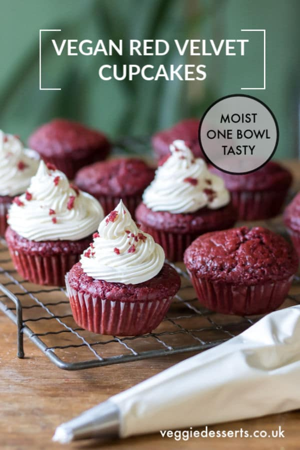 This one-bowl vegan Red Velvet Cupcakes with Cream Cheese Frosting recipe makes cakes that are so moist, fluffy and delicious that nobody would ever guess that they're vegan. They're also super quick and easy. #vegancupcakes #veganredvelvet #veganredvelvetcupcakes #veganredvelvetcake #redvelvet #veggiedesserts