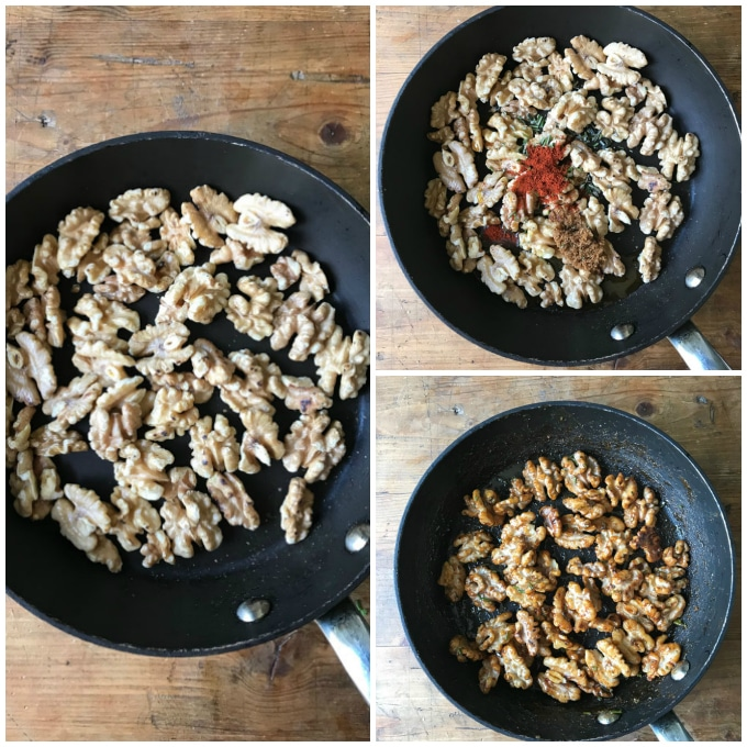 Collage: 1 toasted walnuts, 2 spices added, 3 cooked.