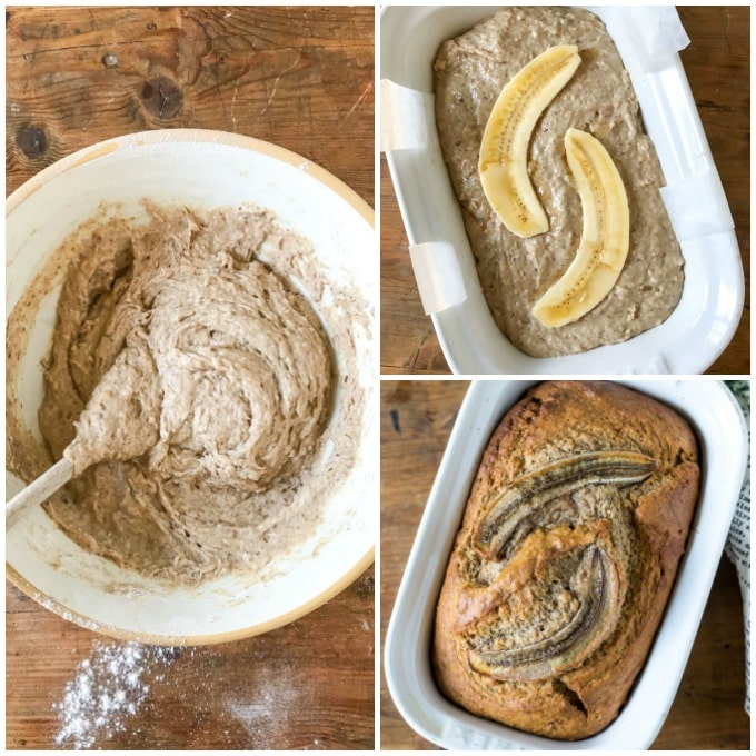 How to make vegan banana bread (dairy free and eggless) step by step tutorial for this easy one bowl vegan cake recipe.