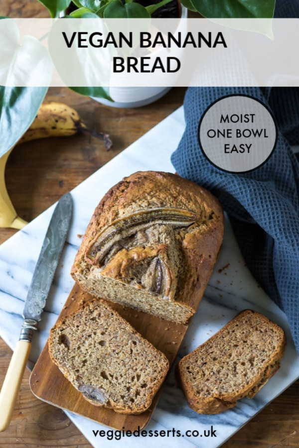 This easy, moist 1-bowl vegan banana bread recipe is absolutely incredible! It's a vegan version of the classic banana loaf and you only need 10 ingredients and 10 minutes prep time. Eggless and dairy free. #veganbananabread #vegancake