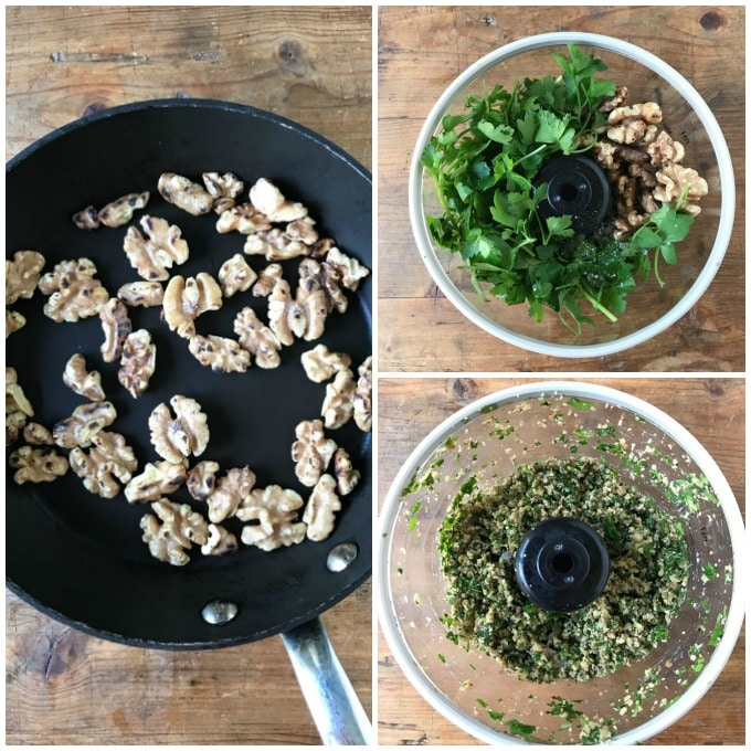Collage: 1 walnuts in a skillet, 2 ingredients in a food processor, 3 whizzed.