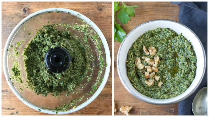 Step by step tutorial for making walnut pesto: Add olive oil slowly through the feed tube while processing.