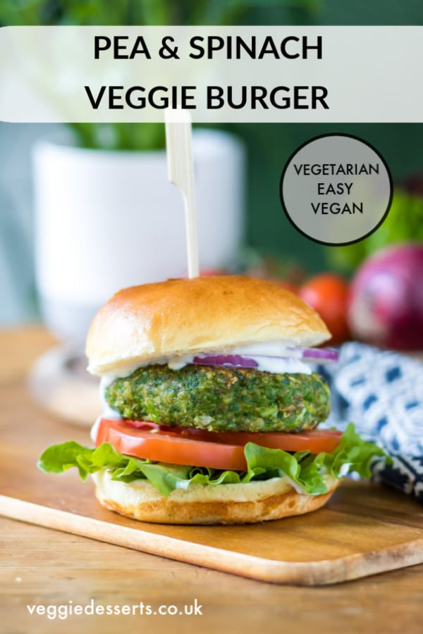 These green vegan pea spinach burgers are super quick to make, healthy and taste delicious. It's a tasty veggie burger recipe that's packed with goodness and comes together quickly. Vegan and easily gluten free.