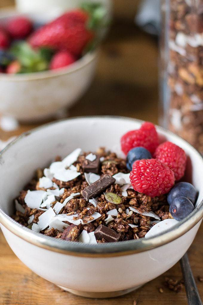Close up of a bowl of homemade granola with chocolate, coconut and topped with berries.