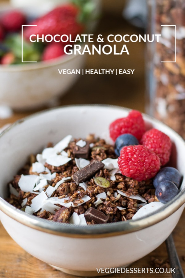 Pinnable image for chocolate and coconut homemade granola recipe.