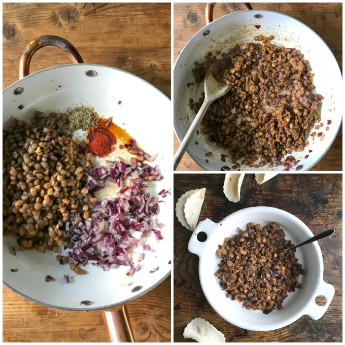 Collage for how to make taco meat with lentils