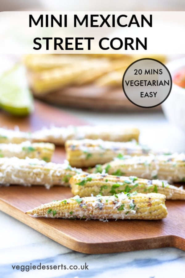 A mini version of Mexican Street Corn! This Elote corn recipe is made with baby corn so it's a great appetizer or vegetarian party food. Perfect for Day of the Dead, Cinco de Mayo, cookouts and picnics. #mexicanstreetcorn #mexicancorn #elote #cincodemayo #cincodemayopartyfood #veggiedesserts #vegetarianpartyfood #fingerfood #appetizers #vegetarianappetizers #mexicanfood #dayofthedeadrecipes