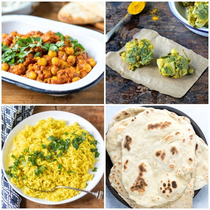 Meal plan for a vegan Indian meal - chickpea curry, vegetable pakoras, turmeric rice, easy naan bread.