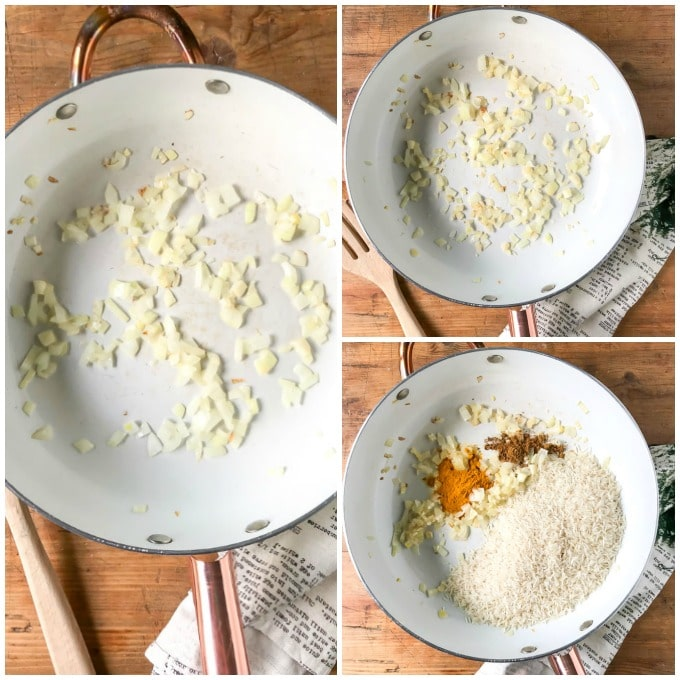 How to make turmeric rice step by step - sautee onion, add garlic and cook a further minute. Add spices and rice.