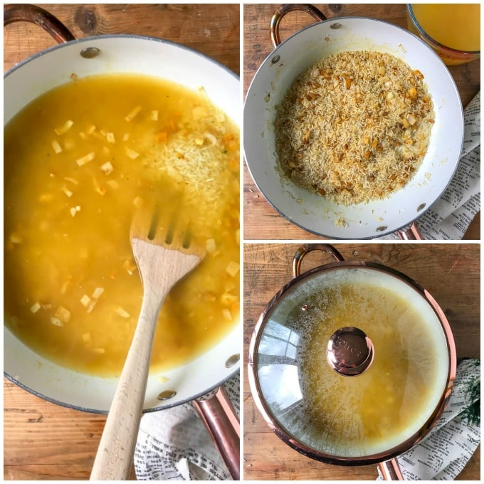 How to make yellow rice recipe step by step: stir well, add broth, cover and simmer