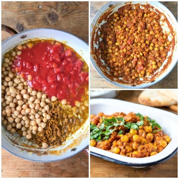 How to make vegan curry with chickpeas - step 4 add the canned tomatoes and drained chickpeas (garbanzo beans) and stir well. Step 5: Simmer for 10 minutes.