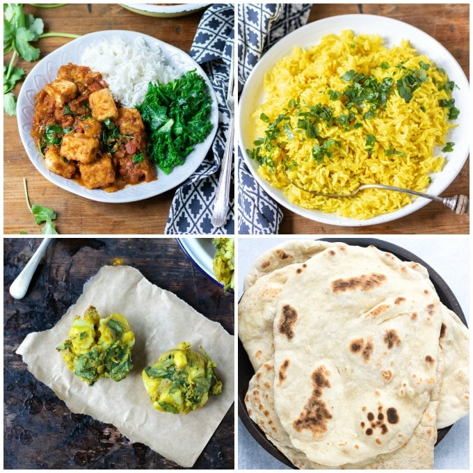 A full Indian meal from scratch - but it's all quick and easy! Tofu curry, turmeric rice, vegetable pakora and 15 minute naan breads. All from veggiedesserts.com