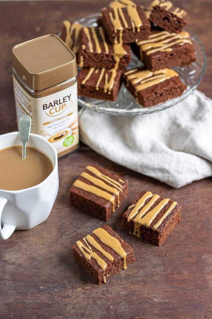 A jar of Barleycup next to Barleycup mocha brownies and a mug of it.