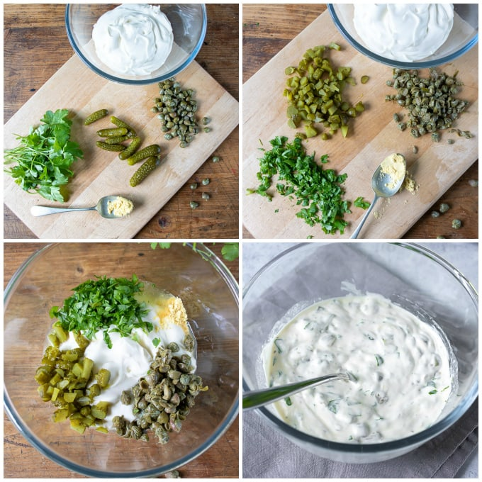 How to make tartare sauce - step by step picture tutorial for the easy recipe.
