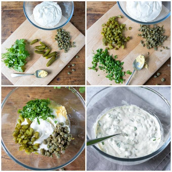 Collage of making tartar sauce.