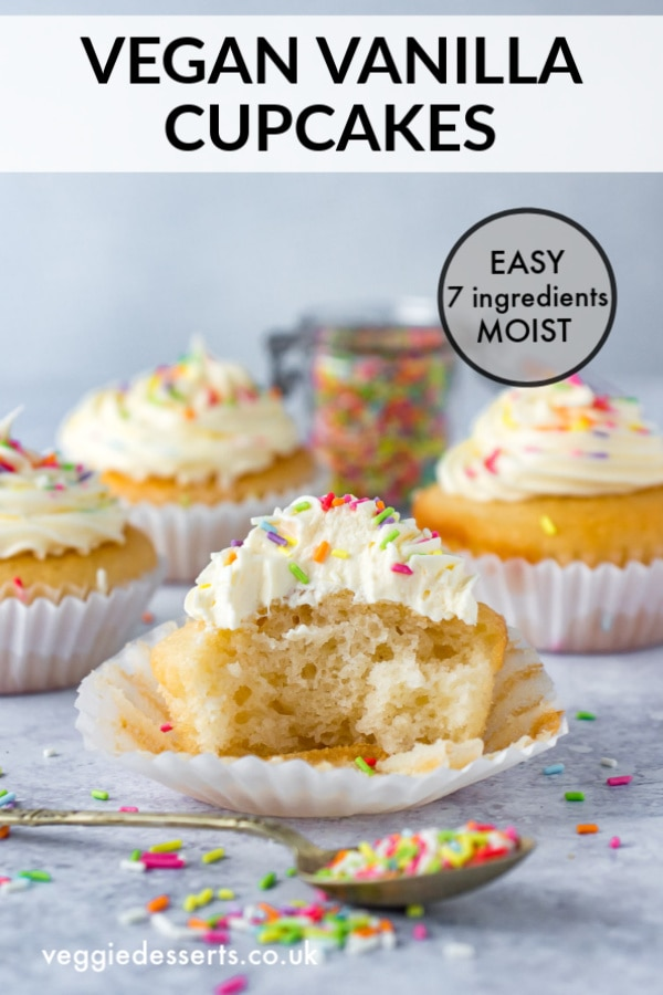 Pinnable image for vegan vanilla cupcakes recipe