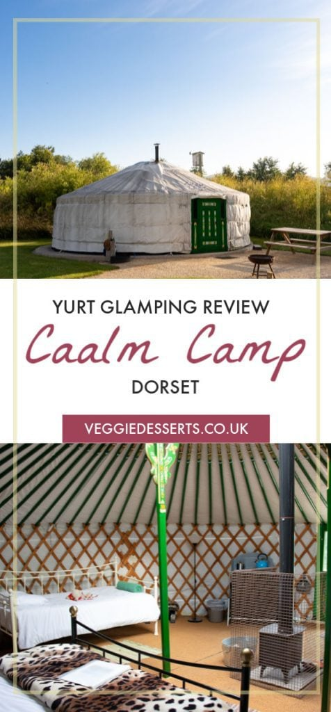 Pinnable image for Caalm Camp review yurt glamping dorset