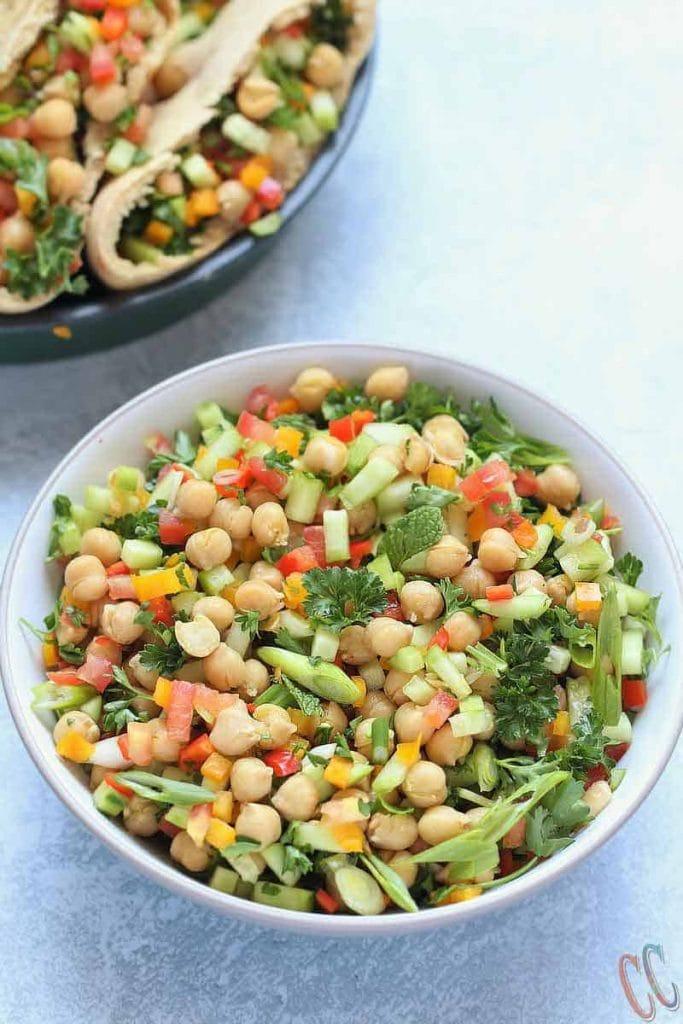 Bowl of balela salad - a middle eastern chickpea salad