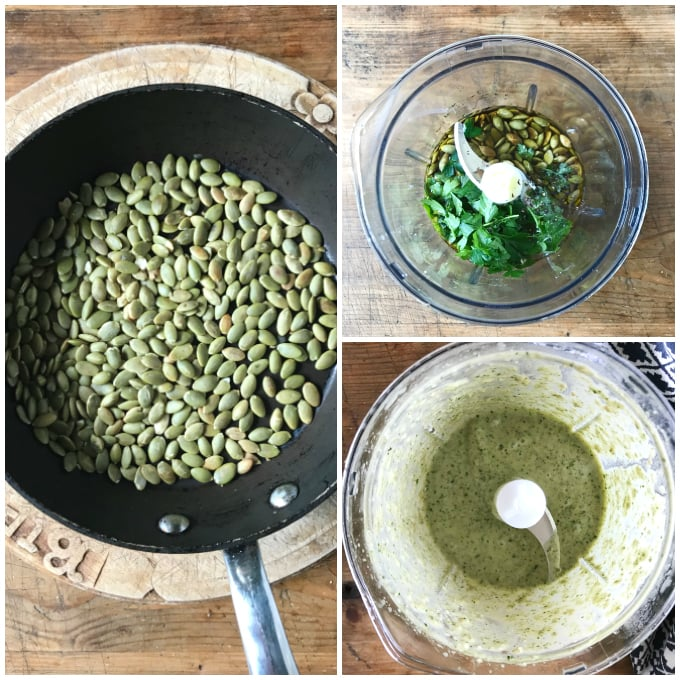 step by step images for making pumpkin seed / pepitas dressing